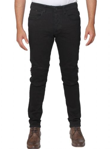 Mens idenim Men's Designer Black Slim fit Tapered Hem Stretch Denim Zips Jeans